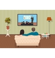 Young family man and women watching TV training vector image vector image