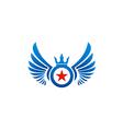 fly wing emblem star logo vector image