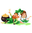 saint patrick day characters leprechaun and girl vector image