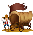 A carriage with an armed old man vector image vector image