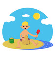 baon beach cute boy playing in sand vector image vector image