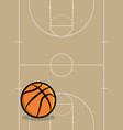 basketball ball and court background vector image vector image