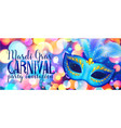 blue carnival mask on shining bokeh lights mardi vector image vector image