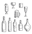 Bottles and glasses of alcohol beverages sketch vector image vector image