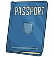 cartoon blue passport book with shield icon vector image vector image