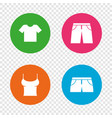clothes signs t-shirt and pants with shorts vector image vector image