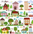 Collection a cartoon houses and trees for you vector image vector image