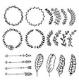 collection of hand drawn design elements sketch vector image vector image