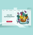 concept an online supermarket with giant vector image