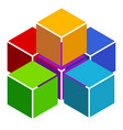 cubes abstract 3d multicolor element on white vector image vector image