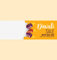 diwali sale banner with crackers vector image