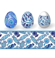 Easter Set of Isolated Easter eggs and seamless vector image vector image