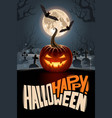 happy halloween poster with moon and pumpkin vector image