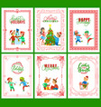 happy holidays merry christmas greeting cards vector image vector image