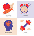 Healthy lifestyle concept icons set in flat style