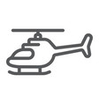 helicopter line icon transportation and chopper vector image vector image