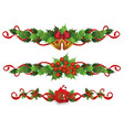 holiday border divider set - red holly berries vector image vector image