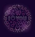 i love you pink outline vector image