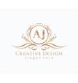 initial aj beauty monogram and elegant logo design