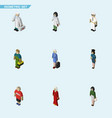 isometric person set of guy policewoman doctor vector image vector image