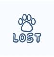 Lost dog sign sketch icon vector image vector image