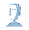 Man character wearing headphones device technology