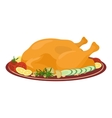 Meal on dish roasted turkey vector image