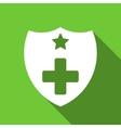 Medical Insurance Shield Flat Long Shadow Square vector image vector image