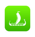 medieval boat icon digital green vector image vector image