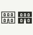 minimal historical building facade outline vector image