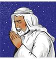 muslim praying in pop art vector image