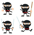 ninja warrior with weapons flat design collection vector image vector image