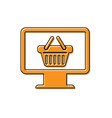 orange computer monitor with shopping basket icon vector image vector image