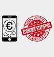 outline mobile euro chart icon and grunge vector image vector image