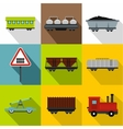 Railway transport icons set flat style vector image vector image
