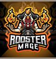 rooster mage esport mascot logo design vector image vector image
