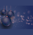 rose gold and blue christmas baubles vector image vector image