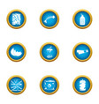 rubbish heap icons set flat style vector image