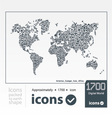 set icons packed to earth shape vector image vector image