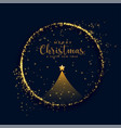 shiny merry christmas tree golden particles vector image vector image