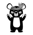 silhouette cute bear animal with feathers design vector image