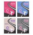 Sport people with Running Pink Ribbon Breast vector image vector image