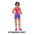 standing rest water break sport exersice vector image