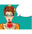 Surprised pop art woman that holds a gift in their vector image vector image