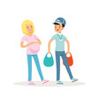 teen boy helping pregnant woman with shopping vector image vector image