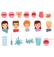tonsillitis icons set cartoon style vector image vector image