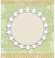 Vintage round frame on floral background vector image vector image