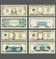 dollar banknotes us currency money bills vector image