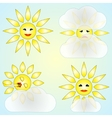 set of four abstract weather icons with sun and vector image