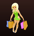 shopping girl with packages vector image